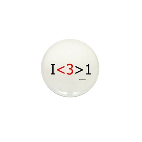I love more than one (red hea Mini Button