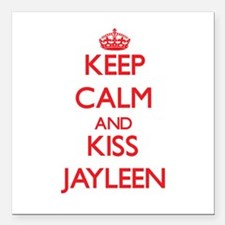 """Keep Calm and Kiss Jayleen Square Car Magnet 3"""" x"""