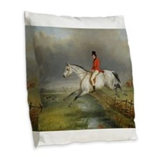 Clearing the Fence on the Hunt Burlap Throw Pillow