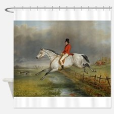 Clearing the Fence on the Hunt Shower Curtain