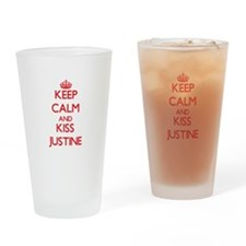 Keep Calm and Kiss Justine Drinking Glass