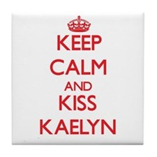 Keep Calm and Kiss Kaelyn Tile Coaster