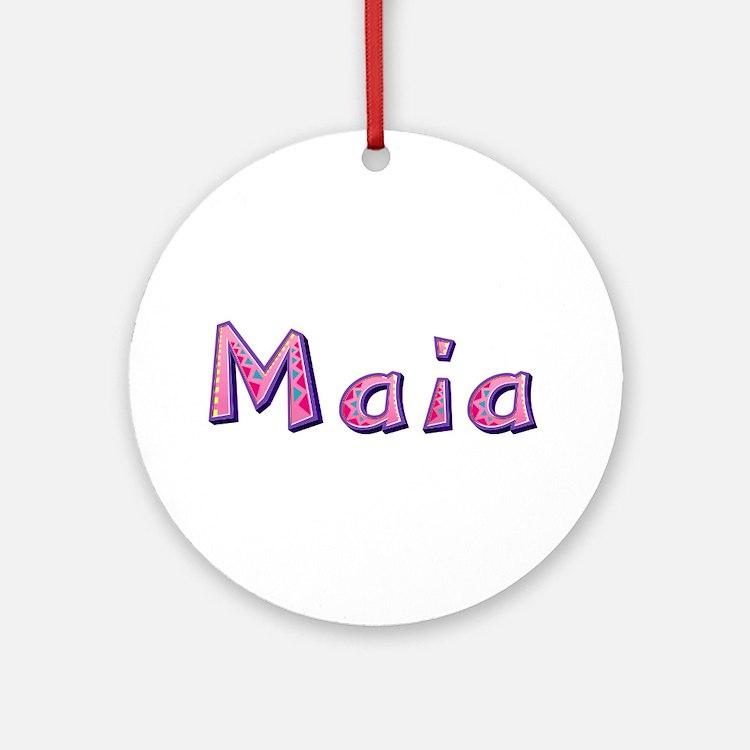 Maia Pink Giraffe Round Ornament