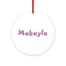 Makayla Pink Giraffe Round Ornament