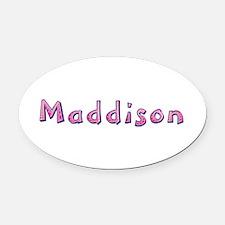 Maddison Pink Giraffe Oval Car Magnet