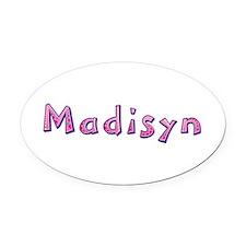 Madisyn Pink Giraffe Oval Car Magnet