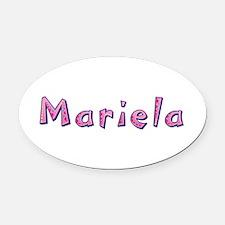 Mariela Pink Giraffe Oval Car Magnet