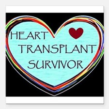 "Heart Transplant Survivor Square Car Magnet 3"" x 3"