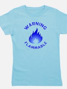 Flammable Warning (blue) Girl's Tee
