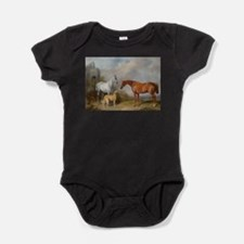 Two Horses and a Deerhound Baby Bodysuit