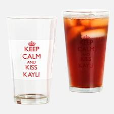 Keep Calm and Kiss Kayli Drinking Glass