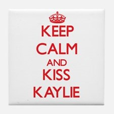 Keep Calm and Kiss Kaylie Tile Coaster