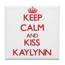 Keep Calm and Kiss Kaylynn Tile Coaster