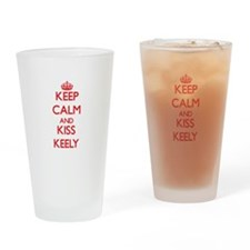 Keep Calm and Kiss Keely Drinking Glass