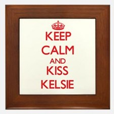 Keep Calm and Kiss Kelsie Framed Tile
