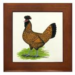 Gold Brabanter Hen Framed Tile