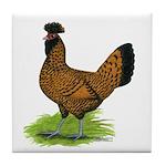 Gold Brabanter Hen Tile Coaster