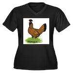 Gold Brabanter Hen Women's Plus Size V-Neck Dark T