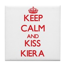 Keep Calm and Kiss Kiera Tile Coaster