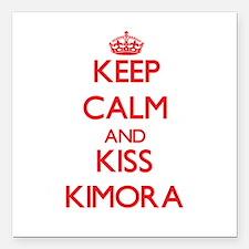 "Keep Calm and Kiss Kimora Square Car Magnet 3"" x 3"