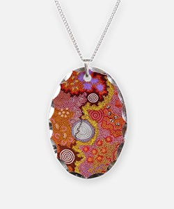 AUSTRALIAN ABORIGINAL ART 2 Necklace Oval Charm