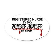 Zombie Hunter - RN Oval Car Magnet