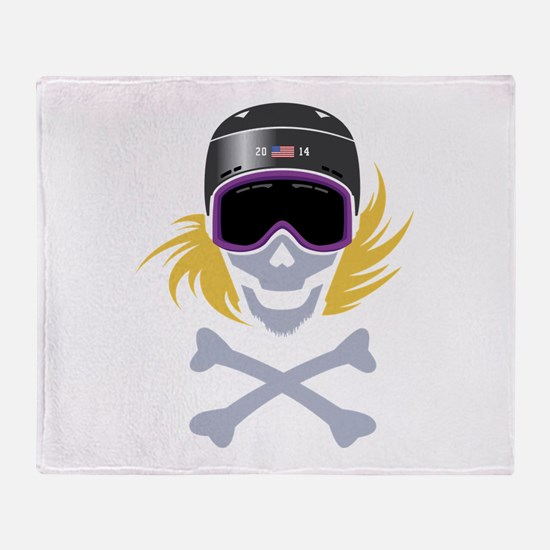 Lil' Snowboarder Skully Throw Blanket