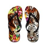 Tigers and flowers Flip Flops