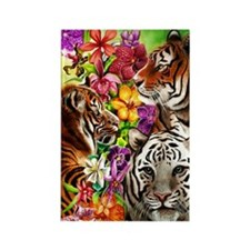 Tigers and Flowers, Beautiful Jun Rectangle Magnet