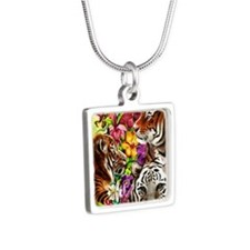 Tigers and Flowers, Beauti Silver Square Necklace