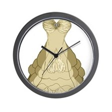 champagne ballgown wedding dress Wall Clock