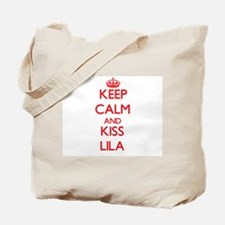 Keep Calm and Kiss Lila Tote Bag