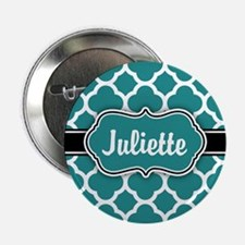 "Moroccan Quatrefoil Teal White Pattern 2.25"" Butto"