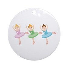 Ballerina Girls Dancing Ornament (Round)