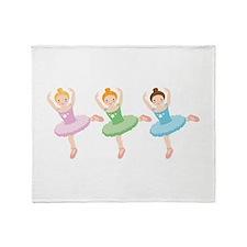 Ballerina Girls Dancing Throw Blanket