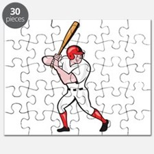Baseball Player Batting Side Isolated Cartoon Puzz