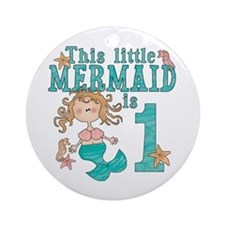 Mermaid First Birthday Ornament (Round)