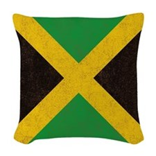 Vintage Jamaican Flag  Woven Throw Pillow