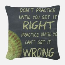 Practice Fastpitch Softball Mo Woven Throw Pillow