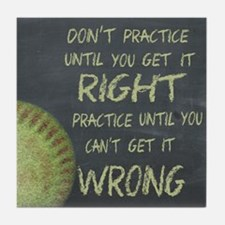 Practice Fastpitch Softball Motivatio Tile Coaster