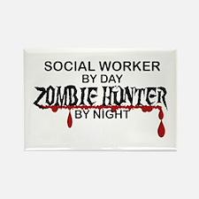Zombie Hunter - Social Worker Rectangle Magnet