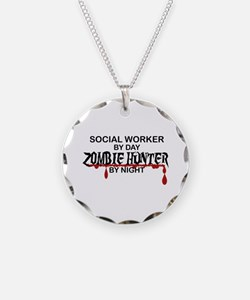 Zombie Hunter - Social Worke Necklace Circle Charm