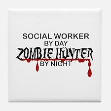 Zombie Hunter - Social Worker Tile Coaster