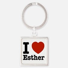 I love Esther Square Keychain