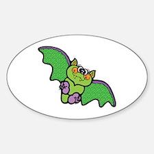 Cute Green Bat Oval Decal