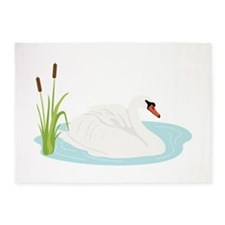 Swan Bird Animal 5'x7'Area Rug