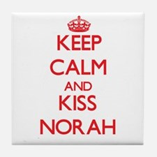 Keep Calm and Kiss Norah Tile Coaster