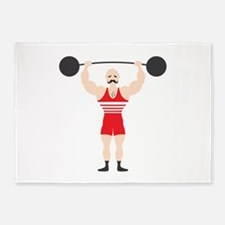 Circus Weightlifter Strong Man 5'x7'Area Rug