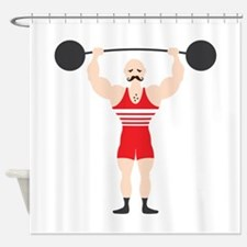 Circus Weightlifter Strong Man Shower Curtain