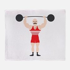 Circus Weightlifter Strong Man Throw Blanket